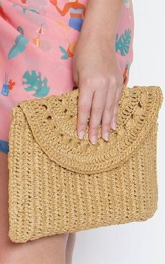 Raffia clutch bag